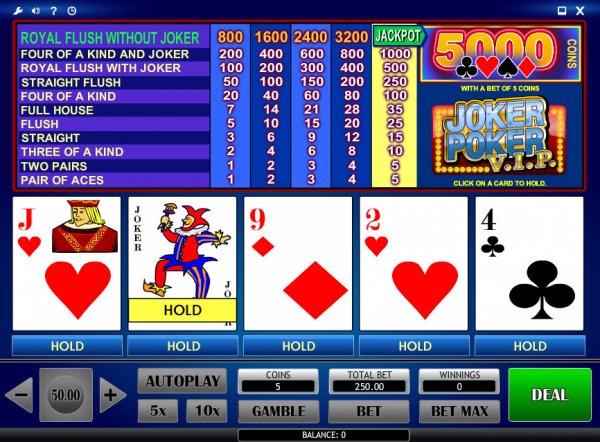 Видеопокер Joker Poker онлайн в казино Вулкан